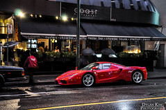 Ferrari Enzo (Dylan King Photography) Tags: street red canada wet rain vancouver nose vent restaurant coast nikon downtown doors bc weekend side rear wheels plate columbia ferrari spot front grill alberta enzo british rolls parked carbon fiber rims luxury supercar diffuser royce spotting d90
