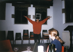 Praise be upon him (Gary Kinsman) Tags: 2001 morning london film students youth drunk dance university candid performance winetasting vest hampstead nw3 stlukeschurch kingscollegelondon kcl childshill indoorstreet kidderporeavenue