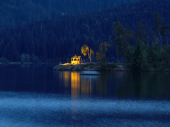 Blue Hour at the Lake and in the City Schluchsee, Germany (Batikart) Tags: nature landscape lake city forest tree water pavilion gazebo architecture path footpath twilight dusk dawn bluehour illuminated illumination lights spotlight lowlight reflections spiegelung blue yellow evening night longexposure langzeitbelichtung rural urban tranquility outdoors recreation relaxation traveldestination citylife idyllic august summer sommer schluchsee schwarzwald blackforest badenwrttemberg deutschland germany europa europe swabian viewonblack geotagged canon g11 canonpowershotg11 batikart ursula sander 2012 100faves 200faves 300faves 400faves 500faves 600faves elitegalleryaoi 700faves 800faves 900faves