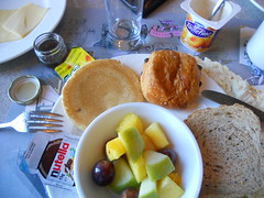Breakfast at Disneyland Hotel, Paris (JedroNaden) Tags: apple coffee café fruit cheese tea grain whole butter pineapple grapes yoghurt nutella melon ananas kaffe fromage yaourt beurre thé blé smør vindruer dafé