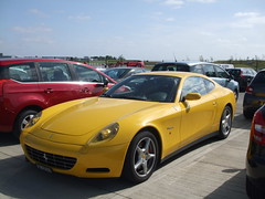 Ferrari 612 Scaglietti (George Matthews) Tags: world road new horse classic cars car yellow stone race silver george track super ferrari racing days september event exotic silverstone record launch races stable rare attempt matthews 2012 supercars 612 prancing programme scaglietti curcuit raced racedays