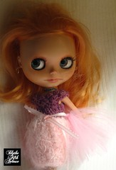 Prudence Peach in Grape Cotton Candy (Heidi @ Blythe Fifth Avenue) Tags: pink hot fun photo rainbow doll candy cotton dresses blythe tulle grape fashions mrb forestfaery classicblack prudencepeach blythefifthavenue custombyblythefifthavenue signaturepopcornpoppydress
