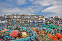 Cornwall_Mevagissey (Standpipe) Tags: uk england sky water boats fishing nikon cornwall angle harbour wide sigma ropes nets buoys 2012 cottages mevagissey 10mm d90 nkkor