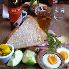 Having a ploughman's lunch