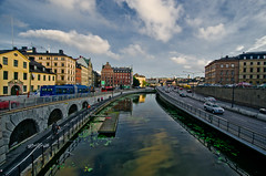 Gamla Stan, reflection (KAM0S) Tags: city longexposure people urban architecture sweden stockholm wideangle bluehour