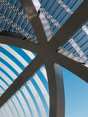 Dominique Perrault. Arganzuela bridge #18 (Ximo Michavila) Tags: madrid bridge blue shadow sky urban sunlight abstract geometric nature lines metal architecture spiral grey star graphic footbridge curves perspective helix perrault arganzuela archidose archiref