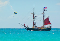 The pirates and the parasailers (Igor Sorokin) Tags: pirates parasailing ship sails boat sea ocean us virginislands travel