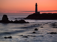 Pigeon Point Lighthouse at Twilight (saganorth2000) Tags: california longexposure sunset lighthouse clouds twilight rocks waves boulders bayarea pigeonpoint sanmateocounty warmcolor