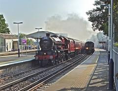 Overtaking on the Inside (Deepgreen2009) Tags: jubilee galatea lms wandsworthtown station steam uksteam dorset overtaking swt 4585 railway maroon