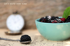 Let's waste some time (eleni m) Tags: blackberries fruit food bowl spoon bramen musicbook vestwatch vesthorloge oud antiek outdoor gardentable dof bokeh blad leaf