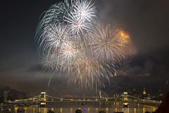 DSC_0112 (beczedaniel) Tags: nikon night 55300 d3200 danube duna budapest bridge bp beautiful firework lights light long exposure hungary híd hun europe eu aug 20 national state founding amature nice