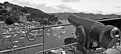 """One Euro"" (giannipaoloziliani) Tags: flickr giannipaoloziliani panorama binoculars binocolo liguria oneeuro money perspective view landscape nikond3200 nikon blackandwhite italy portofino"