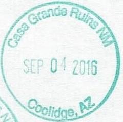 Casa Grande Ruins - Coolidge AZ (colinLmiller) Tags: 2016 passport stamp rubberstamp nps blm nationalparkservice bureauoflandmanagement bonus green arizona coolidge casagranderuins nationalmonument nm