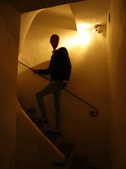 (AmyEAnderson) Tags: person shadow inshadow stairs stairway steps sinister figure man silhouette islesurlasorgue provence vaucluse france europe apartment indoors railing light handrail curves angles rays historic face building inside