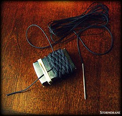 work in progress Zippo lighter wrap... (Stormdrane) Tags: turkshead knot 9lead8bight stormdrane zippo streetchrome fire lighter 14mm black cord string line tie braid weave craft hobby make lacingneedle rubberband over under
