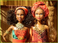 African goddess (barbie for Mary) Tags: africa palm tree fashion model barbie mattel mbili queen beauty drums exotic women dress basic kelly scene diorama fruits