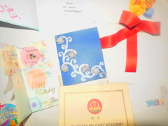 The door to her room. (Somersaulting Giraffe) Tags: indoor cards wishes blue red bff