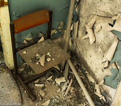School chair with wall peel (Dave and Jodi Piddington) Tags: chernobyl ukraine holiday decay abandonedbuildings death history nucleardisaster accident travel dark tourism darktourism photography architecture nuclear disasters adventure kiev blackandwhite