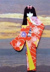 ATC1060 - Sunset behind geisha (tengds) Tags: flowers sunset orange atc clouds fan gray geisha kimono obi origamipaper papercraft japanesepaper washi ningyo handmadecard chiyogami japanesepaperdoll origamidoll tengds origamiwashi reusedcard