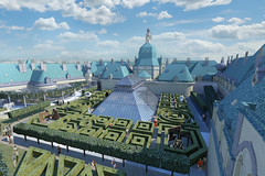 Proposed new roof garden; half on existing roof and half on a new atrium roof