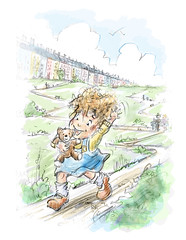 Zig  Zag (Hazel Mitchell Illustration) Tags: children happy child hill running zigzag childrensillustration illustrating hazelmitchell