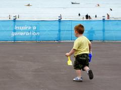 The inspired generation! (SteveJM2009) Tags: uk boy sea beach youth fence logo fun bucket emotion spirit joy banner happiness august 71 dorset olympics railing seafront weymouth generation 2012 spade stevemaskell hff uksun 112in2012 inspireageneration