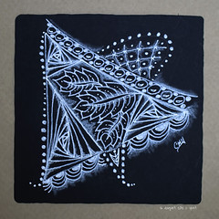 white on black (shebicycles) Tags: monochrome pen pencil tile square doodle gelpen whitepencil blacktile zentangle
