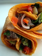 Veg-Steak Wrap (Vegan Feast Catering) Tags: tomato vegan wrap roll peppers onion seitan sammie romaine