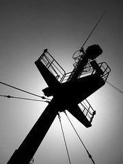 Masthead Silhouette (beancaker) Tags: bw silhouette ship mast nautical sfx