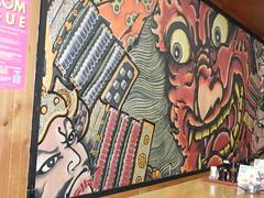 DSCN7859.1 Robata restaurant in Hirosaki - nebuta wall painting (drayy) Tags: restaurant aomori hirosaki prefecture   robatayaki robata