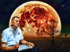 The Night When Neil Dreamt Of The Moon... (The PIX-JOCKEY (visual fantasist)) Tags: portrait moon art night photoshop landscape twilight artwork picture fake luna nasa fantasy photomontage chop comet apollo fotomontaggi neilarmstrong robertorizzato pixjockey