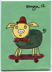 ONYN-00411 (ONYN Paintings) Tags: london art smile painting happy pig image picture bowtie canvas gift buy skateboard present collect eastlondon onyn wwwonyncom onyncom
