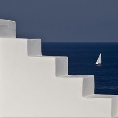 Climbing the blue (Nespyxel) Tags: blue sea white muro lines wall sailboat boat stair barca mare blu steps angles minimal sail scala sicily vela isle bianco sicilia isola geometrie sailingboat gradini panarea geometries rememberthatmomentlevel1