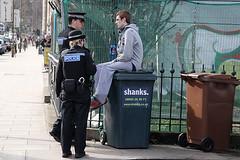 Shank's Pony? (bev glint) Tags: street scotland edinburgh police bin wheelie