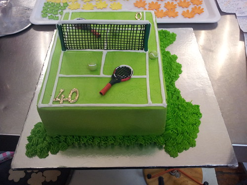 A4 Wicked Chocolate Tennis Court Cake Iced In Green Butter Icing