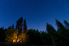 Base Camp at Night (andreaskoeberl) Tags: california blue camping trees camp silhouette night forest dark stars fire tents lowlight woods nikon hiking wideangle campfire backpacking mendocino mendocinonationalforest d7000 tokina1116 snowmountainwilderness nikond7000 andreaskoeberl