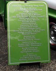 1955 Chevrolet Second Series 3100 Step Side Half-Ton Pickup Truck Rod (8 of 8) (myoldpostcards) Tags: show chevrolet 1955 car truck illinois gm pickup il vehicle rod trucks annual custom oldtruck 12th firedepartment bennett streetrod owner classictruck 3100 generalmotors vintagetruck carclub stepside newberlin motorvehicle antiquetruck shortbed secondseries 2ndseries worldcars 72812 myoldpostcards vonliski collectibletruck truckrod coolcruisers erniebennett july282012