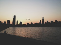 Chicago (Thelemoncookie) Tags: sunset chicago silhouette skyline lakemichigan planetarium iphone alderplanetarium