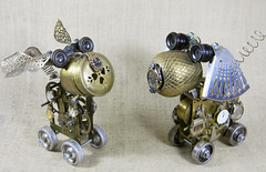 robot dog assemblages - Watchdogs -Ticker and Tock - Reclaim2Fame (Reclaim2Fame) Tags: sculpture dog altered robot recycled assemblage mixedmedia watch brass gears foundobject robotdog watchdog recycledmaterials steampunk upcycled metalmachine steampunksculpture