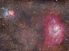 The Lagoon & Trifid Nebulae (Terry Hancock www.downunderobservatory.com) Tags: camera sky reflection monochrome night dark stars photography mono pier back backyard fotografie photos thomas space ngc shed lagoon science images astro apo sagittarius m observatory telescope nebula m8 astronomy imaging ccd universe rgb region cosmos hii paramount luminance emission m20 the lodestar teleskop astronomie byo trifid refractor deepsky f55 6514 6523 astrograph autoguider starlightxpress Astrometrydotnet:status=solved Astrometrydotnet:version=14400 tmb92ss mks4000 gt1100s qhy9m Astrometrydotnet:id=alpha20120948881009