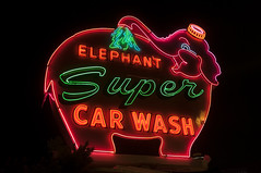 Elephant Super Car Wash (Curtis Gregory Perry) Tags: seattle usa elephant luz car sign night licht washington colorful neon unitedstates lumire united super aviso schild wash northamerica states letrero luce muestra bord signe sinal enseigne  zeichen   non kyltti segno nen wegweiser       teken indicacin  liikennemerkki uithangbord     criteau