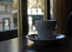 Tasse de caf, le matin, au Sorbon, rue des coles, Paris, 15 septembre 2012 (Stphane Bily) Tags: morning paris cup tasse caf table noir thing spoon matin cuiller quartierlatin chose stphanebily