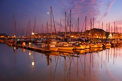 Marina in mauve (snowyturner) Tags: moon clouds marina reflections boats lights harbour plymouth mauve yachts sutton pontoon cattedown