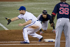 Dive (gorbould) Tags: toronto boston baseball redsox bluejays 2012 mlb rogerscentre firstbase pickoff adamlind