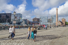 Liverpool on a Sunny Day (Kyle Turner Photography) Tags: sun sunset building reflections colour colourful bright expensive people family liverpool docks boat water blue white clouds tall rail birds hilton hotel mersey merseyside river rivermersey albertdocks cunard