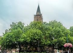 Tower of Jacobskerk (natures-pencil) Tags: utrecht netherlands nederland church tower toren clock trees foliage architecture jakobskjerkhof stonework spire