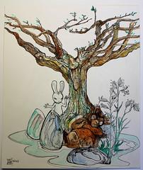 ours et lapin au tilleul (mc1984) Tags: mc1984 dessins drawings dibujos tree arboles arbres animal nature green aleister236 flickr creatif aquarelle ink encre paper papier funny