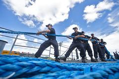 Sailors heave line aboard USS Chancellorsville to depart Fleet Activities Yokosuka. (Official U.S. Navy Imagery) Tags: usschancellorsvillecg62 cruiser usnavy ras yokosuka japan