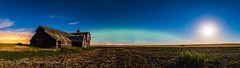 Aurora and Harvest Moon at the Old Barn (Amazing Sky Photography) Tags: alberta aurora bigdipper capella harvestmoon moonlight northernlights perseus abandoned auroralarc farm lightpollution oldbarn