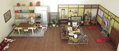 Skeleton House (MurderWithMirrors) Tags: rement miniature skeleton poseskeleton dog cat livingroom kitchen mwm